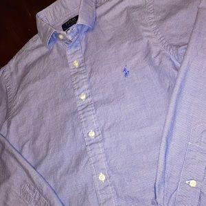 """POLO Ralph Lauren Med 15"""" 32/33 Blue Dress Shirt"""